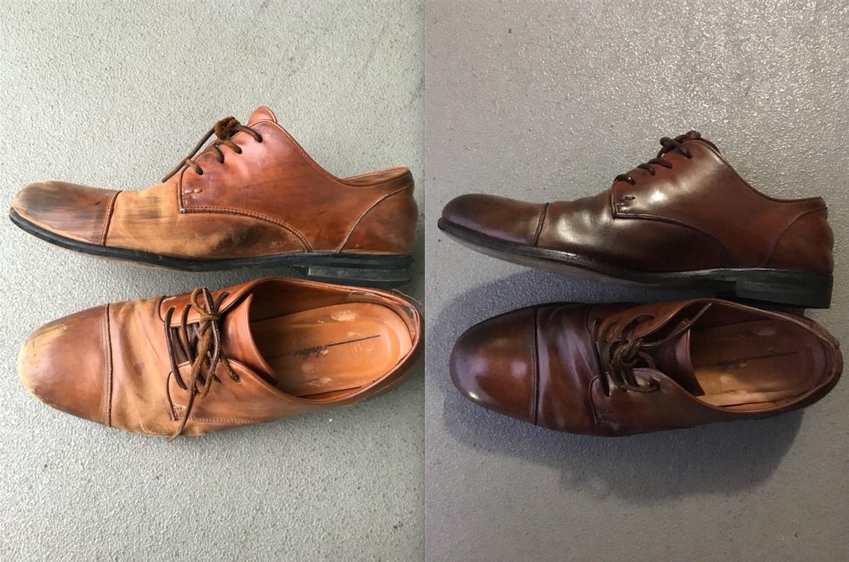 靴自体がかなりボロボロの状態なのと、写真を撮った時間帯が違うため光の度合いが違います、ごめんなさい。 ちなみに靴はアルフレッドバニスターの12,000円くらいの
